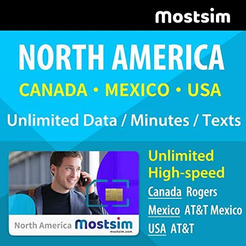 Most SIM - AT&T SIM Karte für USA, Kanada und Mexiko, unbegrenzte High Speed Daten und unbegrenzte Anrufe/SMS - 28 Tage