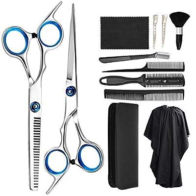 Zorssar Hairdressing Scissors Shears Set 11 Pcs - Professional Haircut Hair Cutting Scissors Kit,Stainless Steel Scissors,Thinning Shears,Hair Comb,Eyebrow Razor,Clips,Cape for Home, Barber, Salon by Zorssar