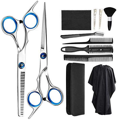 Zorssar Hairdressing Scissors Shears Set 11 Pcs - Professional Haircut Hair Cutting Scissors Kit,Stainless Steel Scissors,Thinning Shears,Hair Comb,Eyebrow Razor,Clips,Cape for Home, Barber, Salon