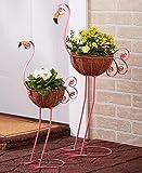 Set of 2 Bird Planters, Flamingo