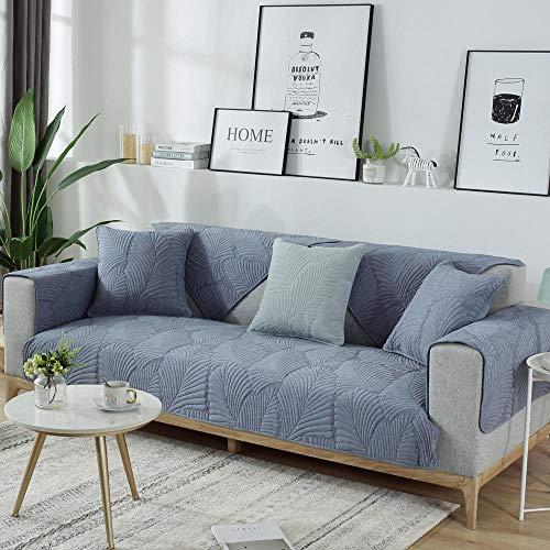 Cotton Sofa Protector Cover, non-slip fabric couch saver covers, corner/L shape slip cover,4 season sofa cushion slipcover-blue_90*160cm