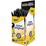 BIC Cristal Original Bolígrafos Punta Media (1,0 mm) - Negro, Caja de 50 Unidades, Perfecto para...