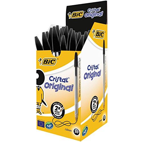 BIC Kugelschreiber Cristal Original, in Schwarz, Strichstärke 0,4 mm, 50er Pack, Ideal für das Büro, das Home Office oder die Schule