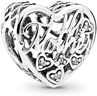 Mother & Son Bond Charm, Sterling Silver, Clear Cubic Zirconia, One Size