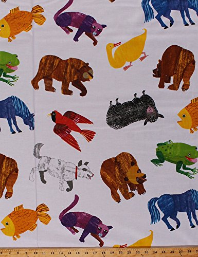 Cotton Bears Dogs Birds Sheep Horses Cats Frogs Fish Ducks Cardinals Farm Wild Animals on White Chalk-Look Brown Bear, Brown Bear What Do You See? Kids Cotton Fabric Print by The Yard (P0260-3872-M)