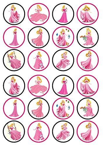 24Aurora bella durmiente princesa troquelada Disco de Cupcake–tarjeta de oblea comestibles decoración para tarta, Stand Up, 24 PRECUT