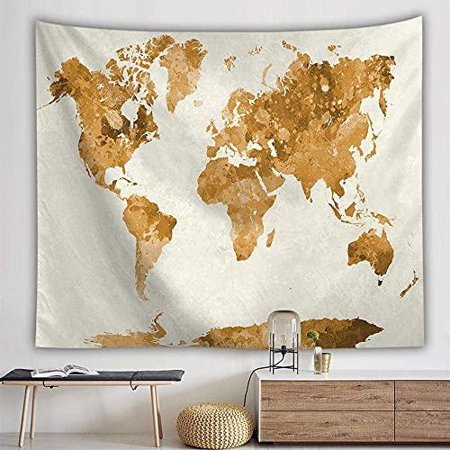 Tapiz de pared, diseño de mapa del mundo bohemio, para colgar en la pared, color marrón ceniza, tela de impresión artística rectangular para sala de estar, dormitorio