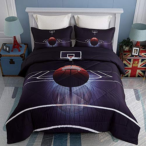 KINBEDY 3D Tencel Cotton 3PC Basketball Comforter Sets Queen Size for Teen Kids Comforter Black Bedding Sets 1 Comforter with 2 Pillowcases.