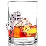 Stuck in Glass Devil's Bone 10 oz Whiskey Glass | Dice | Original Handcrafted Embedded Barware | Chance Cube | White