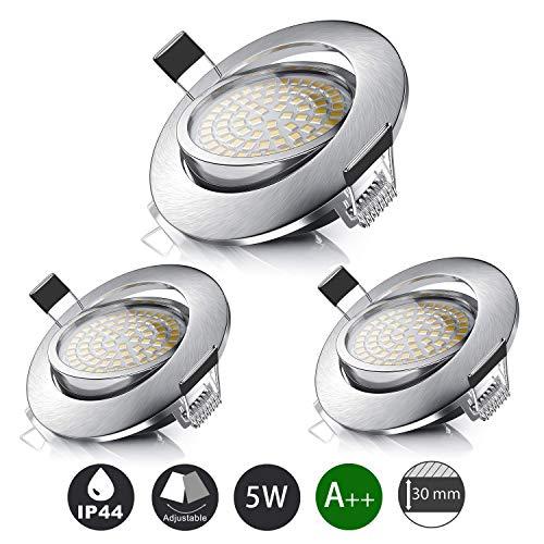 LED Spot Encastrable 5W 500LM equivalent 50W incandescence, Blanc Chaud 3000K Ultra Plat IP44 Pour Salle de Bain, Cuisine, Salon, Couloir (lot de 3)
