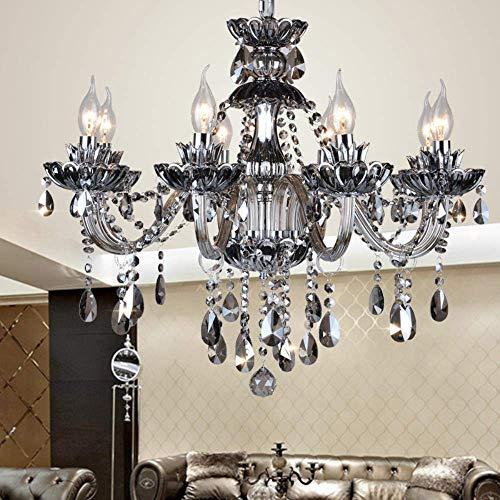 ZCZZ Lámpara de araña de Sala de Estar de Estilo Europeo Lámpara de Dormitorio Restaurante Retro Ambiente Gris Humo Villa Penthouse Lámpara de pie Proyecto de Hotel, 8 D72 * H53cm