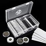 MUROAD Cápsulas de monedas de 41 mm, 60 unidades de monedas de plástico con juntas de espuma, caja para monedas de nuevo diseño para colección de monedas