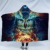 Nebowla by JoJoesArt Owl Hooded Blanket Moon Glow Owl Night Sky Sherpa Fleece Blanket Animal Snuggle Blanket for Kids Adults Owl Gifts for Men (60'x 80')