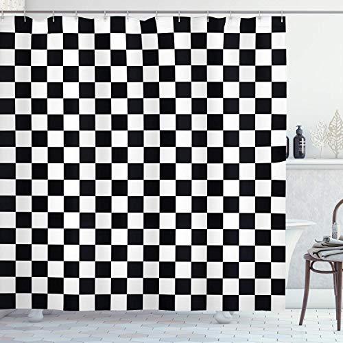N\A Checkers Game Duschvorhang, Monochrome Quadrate im geometrischen Gitterstil im traditionellen Spielbrett-Design, Badezimmer-Dekor-Set aus Stoffgewebe mit Haken, Weiß & Schwarz