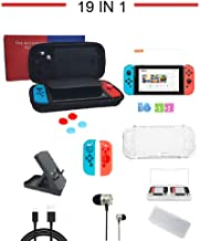 $29 » Accessories Kit for Nintendo Switch Games Bundle, Carrying Case, Clear Cover Case, Game Card Case, Adjustable Stand, 2*Joy-Con Grips, 4*Joystick Caps, Charger, Headphones, Screen Protector (19 in 1)
