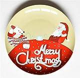 SD&EY Placa de cerámica de Navidad Dibujos Animados Pintado a Mano Placa de Cena de Fruta Plato de Fruta China Placa de Cena Occidental del año Nuevo Regalo,B