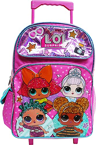 L.O.L Surprise! Backpack or Lunch Box Book Bag Travel Bag Go LOL Series (16 Inch Rolling Pink)