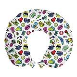 ABAKUHAUS Emoticon Cojín de Viaje para Soporte de Cuello, Colorido Musicales, Viajes Siestas Leer Mirar TV, 30 cm x 30 cm, Multicolor