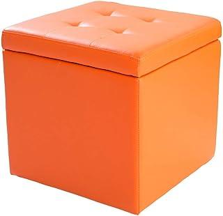 XBCDX Cube Faux Cuir Ottoman Tabouret de Rangement Pouf Banc, Coffre à Jouets avec charnière Dessus Organisateur boîte Pou...