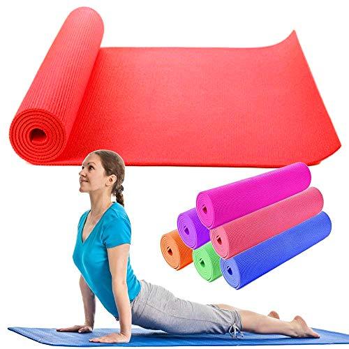 OUTLETISSIMO® Tappetino Yoga Tappeto Rosso Pilates MATERASSINO Fitness Aerobica 173X61 Soft