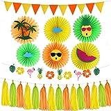 Amosfun 23 piezas hawaiana fiesta favores flamenco dibujos animados borla bandera colgante papel abanicos conjunto verano fiesta suministros jardín de infantes decoración