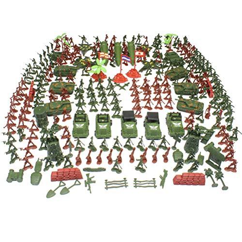 Toyvian 307PCS plástico Soldados Militares Figuras Modelo estático Ejército Figuras Accesorios Juego Juego