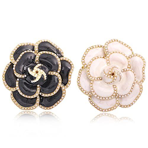 Faithvhk 2 Broches De Perlas De Camelia para Mujer, Elegante Broche De...