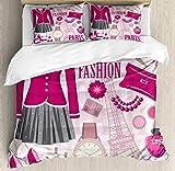 Juego de funda de edredón de moda, temático en París, reloj de vestir, monedero, perfume Parisienne Landmark, juego de cama decorativo de 3 piezas con 2 fundas de almohada, tamaño doble, beige rosa