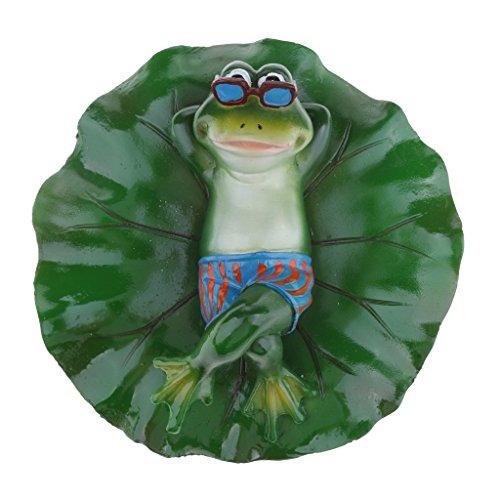 petsola Frosch Und Blatt Schwimmend Schwimmfrosch Teichdeko Miniteich Garten Teich - Liegend
