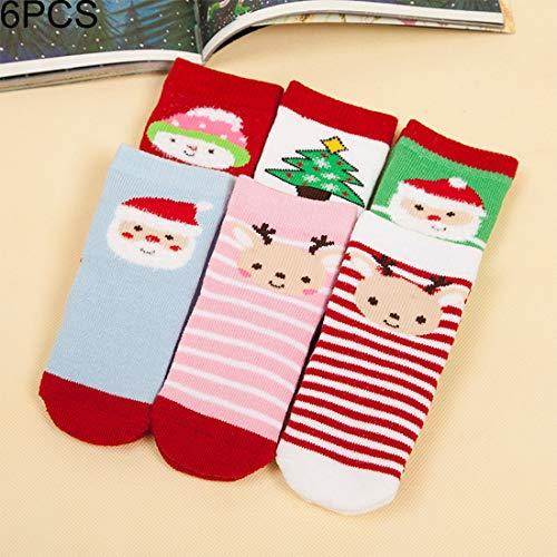 Tuzi Qiuge Estilo Minimalista de Navidad los niños del algodón Calcetines Anti-Pilling espesante, por sobre Los pies de Longitud: 10~13cm 6 Pares