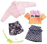 Barbie-GHX58 Pack de accesorios de moda chaqueta transparente rosa y estampado de cuadros, multicolor (Mattel GHX58)