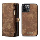 WRNM Para iPhone 12 6.7 Pulgadas Funda Multifuncional Multifuncional Premium Zipper Billet Funda De Bolsa con Tapa Trasera Magnética, Caja del Teléfono(Color:MARRÓN)