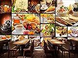 LZQMO Fondo de Pantalla 3D Panadería Europea Al Horno Milk Postre Café Fondo de Pared Restaurante Mural Fondo de Pantalla 3D_300x210cm