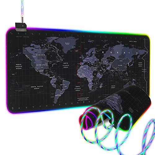 RGB Gaming Mouse Oversized Glowing RGB Gaming Mouse Pad Large Led Extended Mousepad Non-Slip Rubber Base Computer Keyboard Pad Mat for Gamer