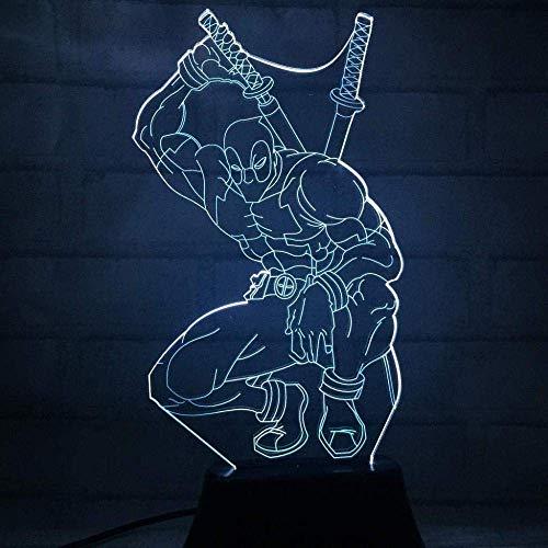 Bar Stools 3D Optische 3D Deadpool Visual Illusion Lámpara LED Luz de Noche Luz de Juguete de cumpleaños para niños 7 Color Toque USB Marvel Avengers Decoraciones de Noche Lámpara de Mesa