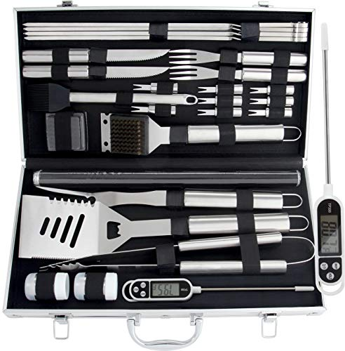 ROMANTICIST 28pc BBQ Accessories Set with Thermometer - The Very Best Grill...