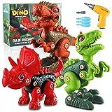 aovowog Dinosaurios Juguetes para Niños con Taladro Eléctrico,Puzzle 3D Dino Construcción Juguetes Dducativos Regalos para Niños Niñas(T-Rex Velociraptor Triceratops)