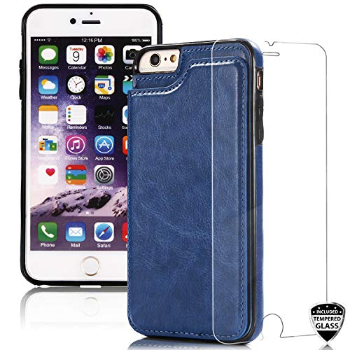 DICHEER Compatible iPhone 6 Case,iPhone 6s Case with Glass Screen Protector,Wallet Casae Card Slots iPhone 6s Case for Men,Dual Layer Hybrid Defender Soft Bumper Best Protective Cover Classy Case Blue