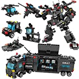 Alapa City Police Mobile Command Center Truck Building Toy, Robot and Fighter Patrol