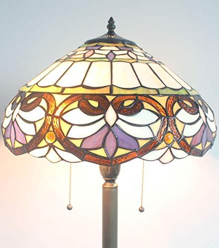 Gweat Tiffany 16 Pouces Noir Ceinture Fleur Baroque éclairage Classique Salon Chambre Lampe canapé café lampadaire