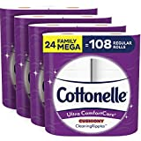 Cottonelle Ultra ComfortCare Soft Toilet Paper with Cushiony Cleaning Ripples, 24 Family Mega Rolls, Bath...