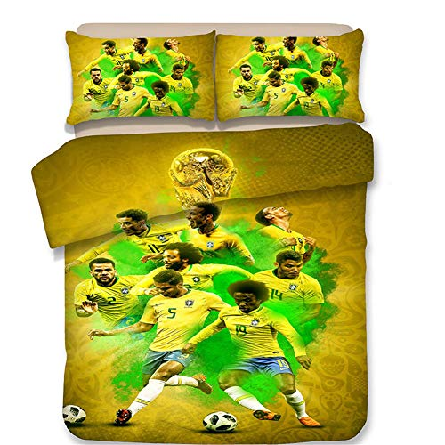 FONKING Quilt Covered Pillowcase Double Bedding 3 Piece Suit Fifa World Cup National Team 2018,2,US-King