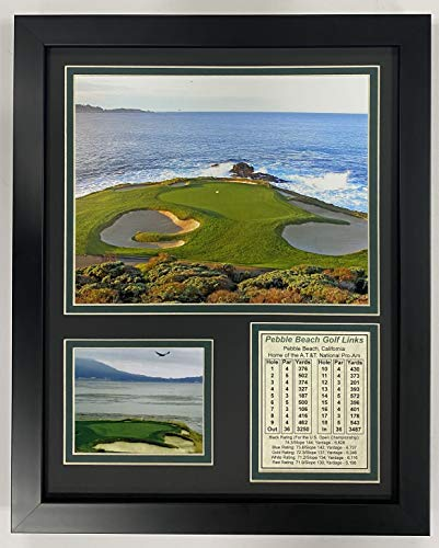 Pebble Beach Hole #7 11' x 14' Framed Photo Collage by Legends Never Die, Inc.