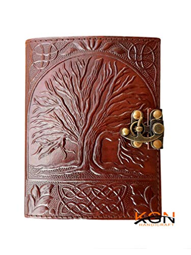 Book of Shadows Journal with Lock Clasp Sacred Oak Tree Leather Blank Book Celtic Tree of Life Journal Parchment Unlined Paper Writing Notebook fair Trade Gifts for Women Address Travel Draw 5x7 Inch