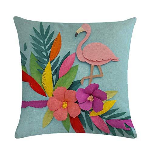 Funda de cojín Funda de Cojine Flamingo Bird Flowers Paper Art Azul Almohada para Cojín 45X45CM