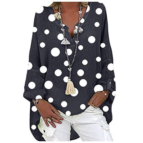 Blusas y Camisas de Manga Larga para Mujer con Cuello en V, 2021 Moda Casual Camiseta de Lino de Gran Tamaño Sudadera Verano Camisa con Estampado de Girasol Túnica Tops Largos Sueltos(C Armada,XXL)