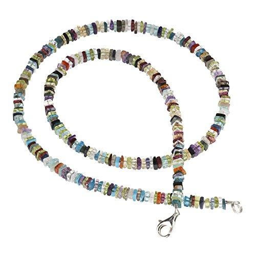 Multicolor Kette Collier Edelstein Achat 925 Silber Halskette Halsschmuck 48cm bunt