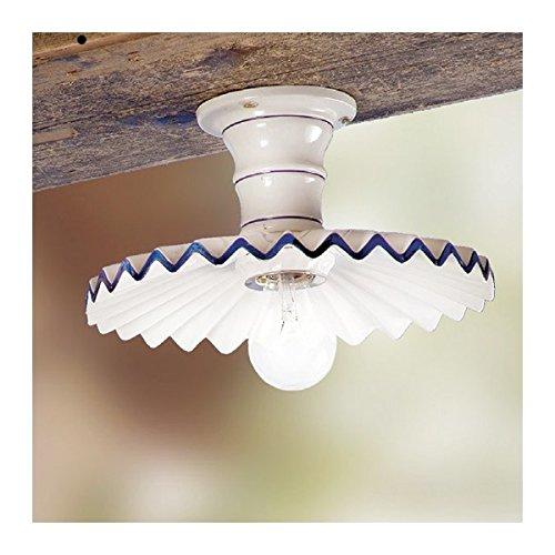 Lampe de plafond en céramique, plissé, de campagne rustique rétro - Ø 28 cm - Rosso