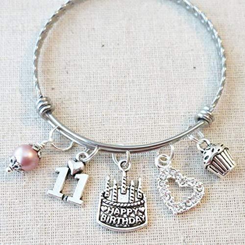 Image of the 11th BIRTHDAY Bracelet, 11th Birthday Charm Bracelet, Granddaughter Daughter Gift Idea, Eleventh Birthday Gift, 11 Year Old Birthday Bangle