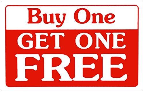 bienternary Verkaufsschild Buy One Get One Free Business Sign Store Discount Aluminium Blechschilder Vintage Blech Schilder Dekorative Schild 11 x 18 cm